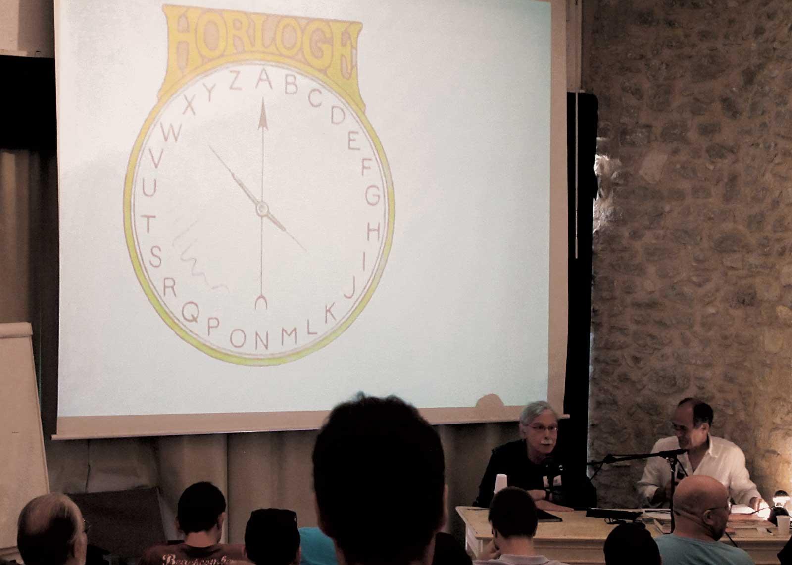 Jean Alessandrini, Olivier Nineuil. Horloge alphabétique.