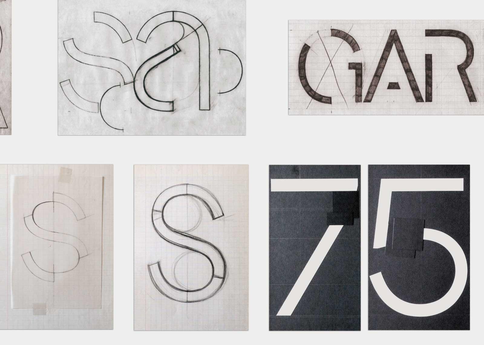 Jean Alessandrini — Crayonnés du caractère Eclipso (1982) et originaux en papier découpé du caractère Futuriste (1967).