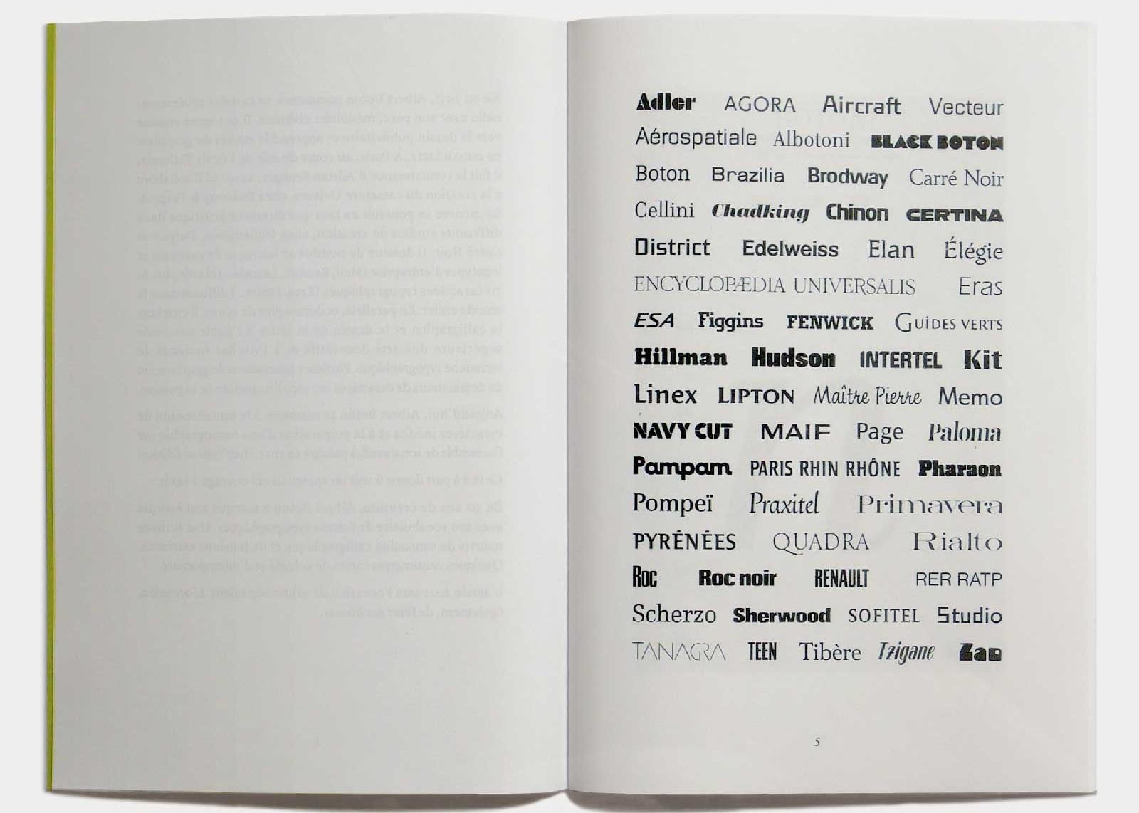 Page 5 — Sélection de 58 alphabets.