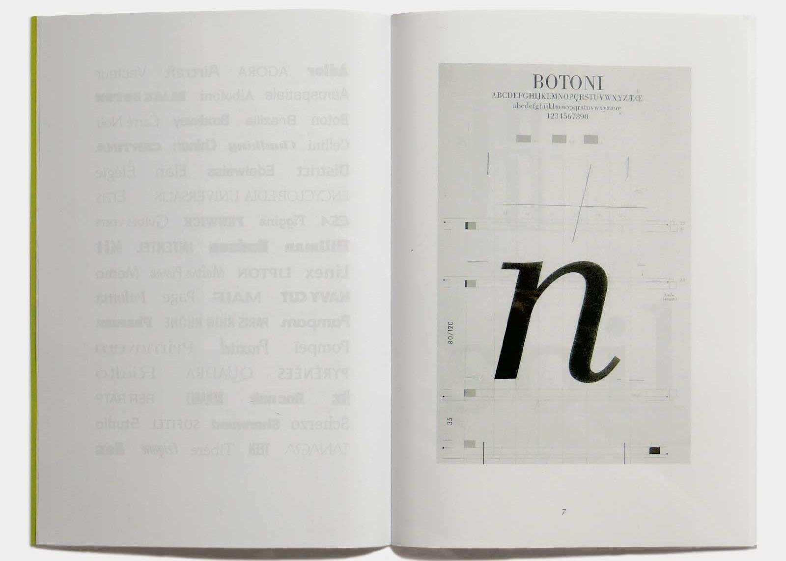 Page 7 — Caractère Botoni (1974), grille de travail.