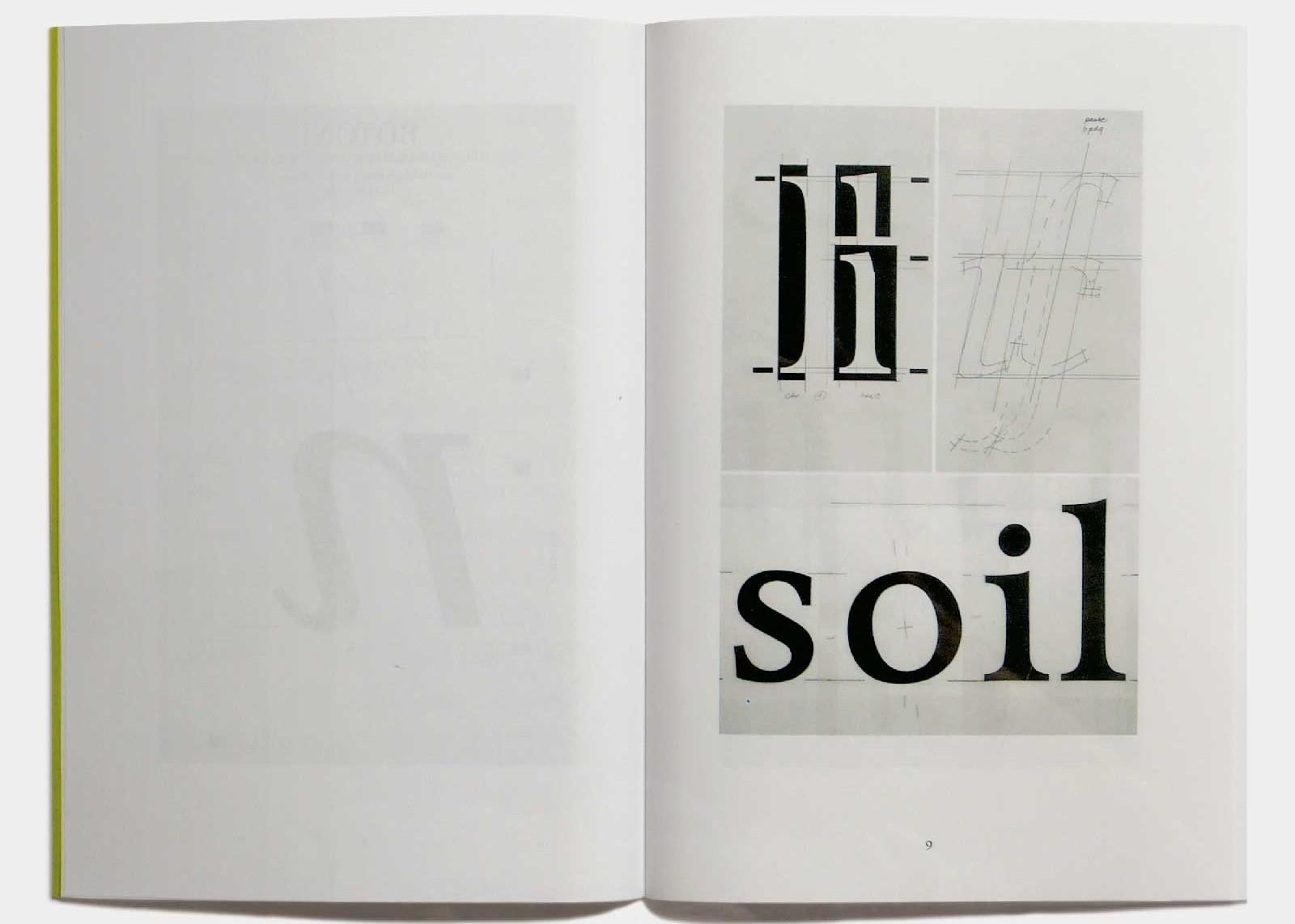 Page 9 — Caractère Tibère (1986, ancien nom Quadra; 2003, FontFont), grille de travail.