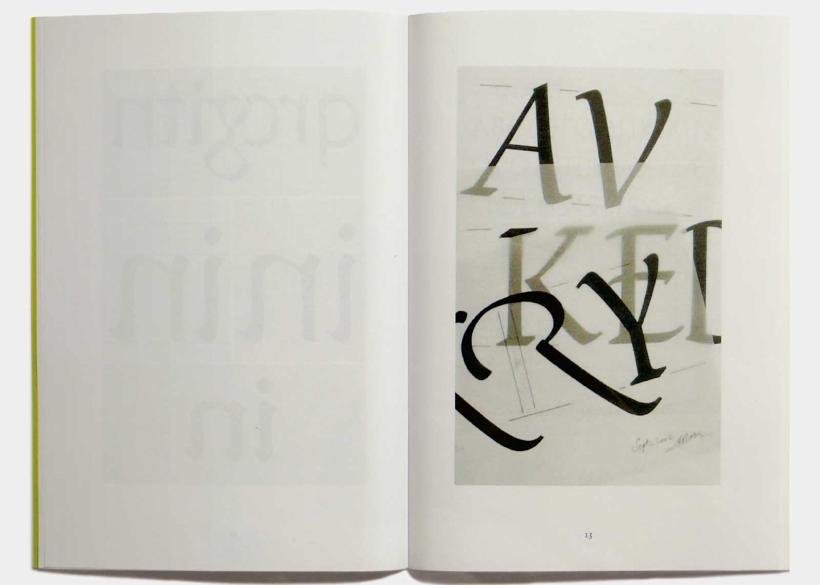 Page 13 — Caractère Praxitel (2001, inédit), dessins originaux sur film Polymat.