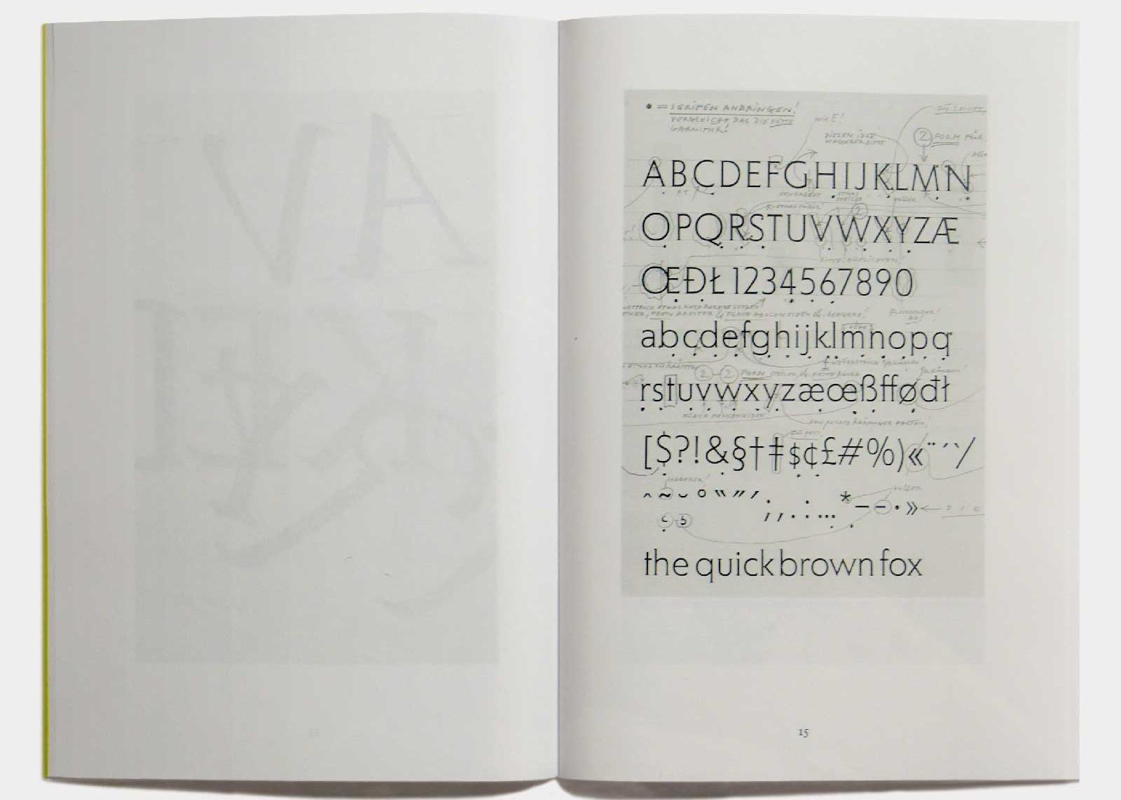Page 15 — Caractère Agora (1990, Berthold), corrections manuscrites de Günter Gerhard Lange.