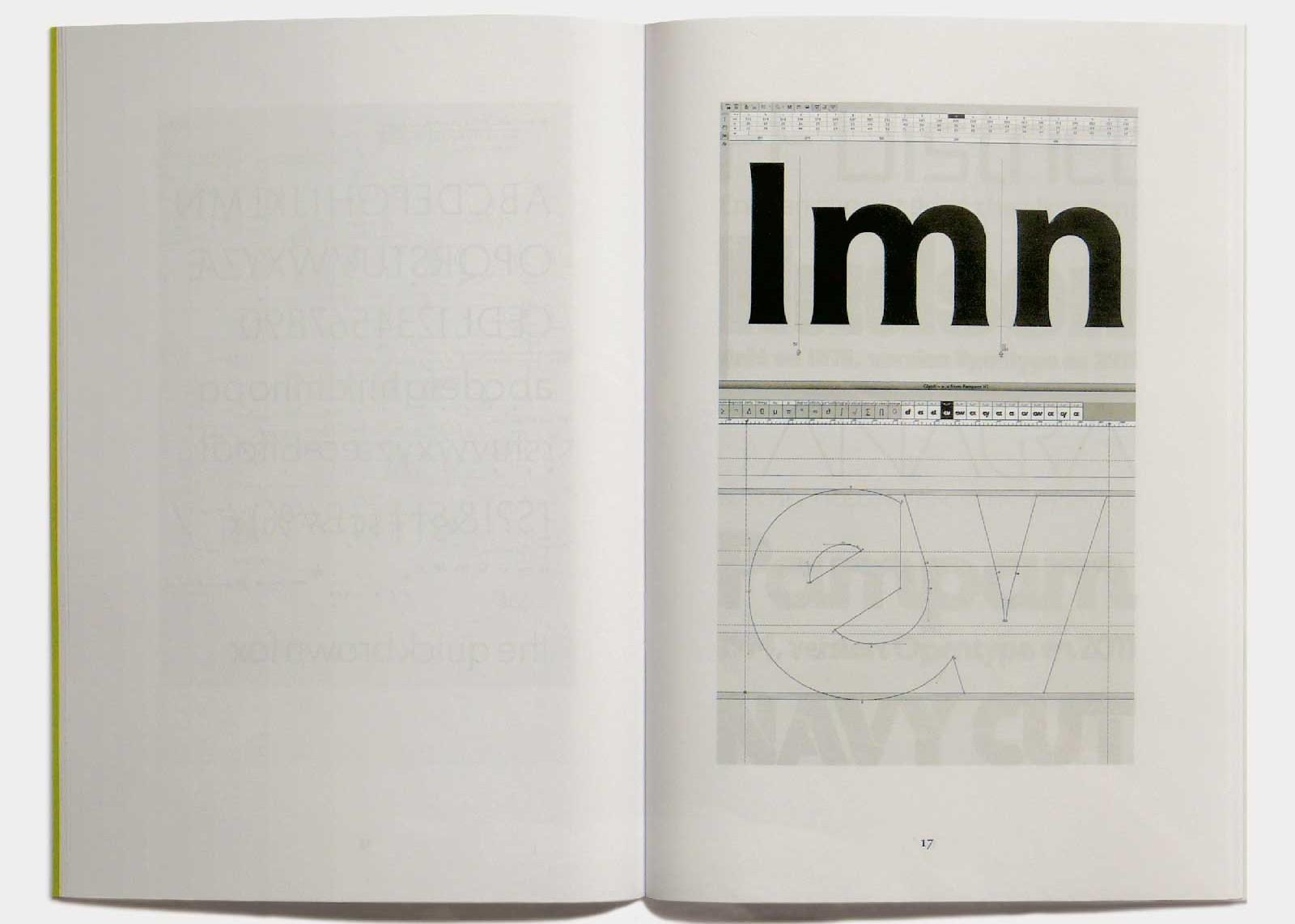 Page 17 — Caractère Edelweiss (2011, inédit), Pampam (1974, Hollenstein; 2011, version OpenType), capture d'écran.