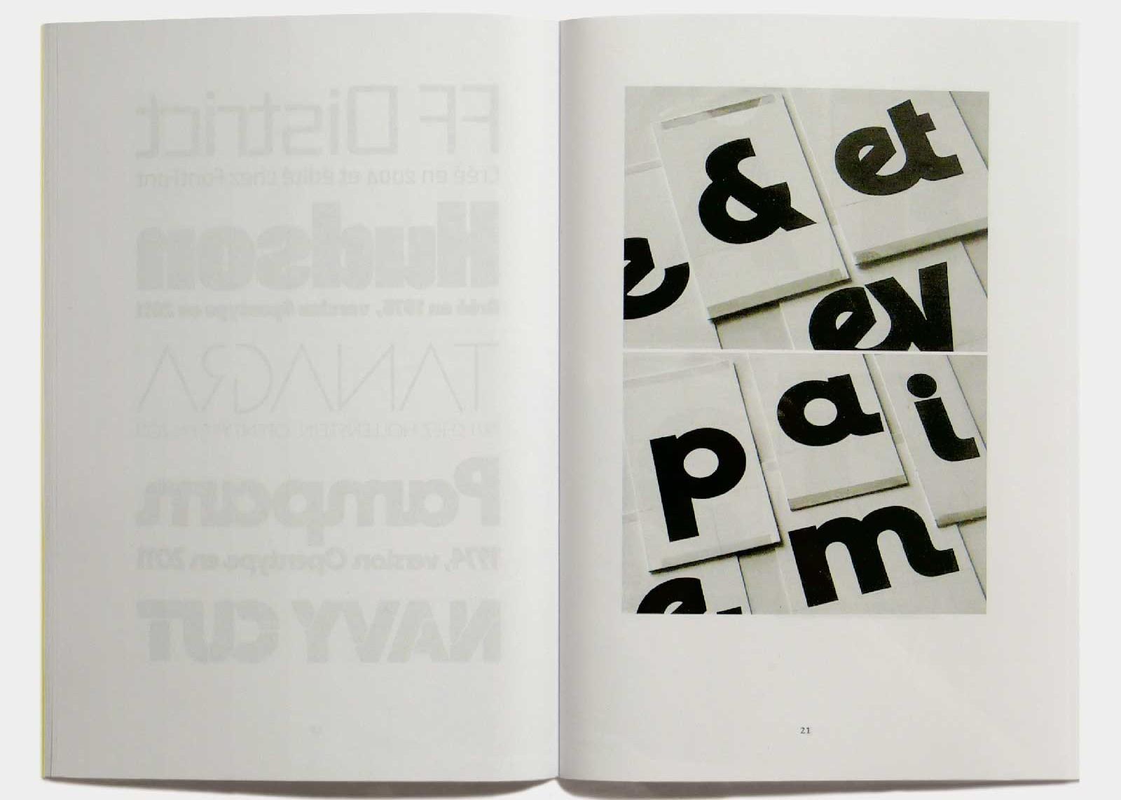 Page 21 — Caractère Pampam (1974, Hollenstein; 2011, version OpenType), dessins originaux à l'encre sur carte à gratter.