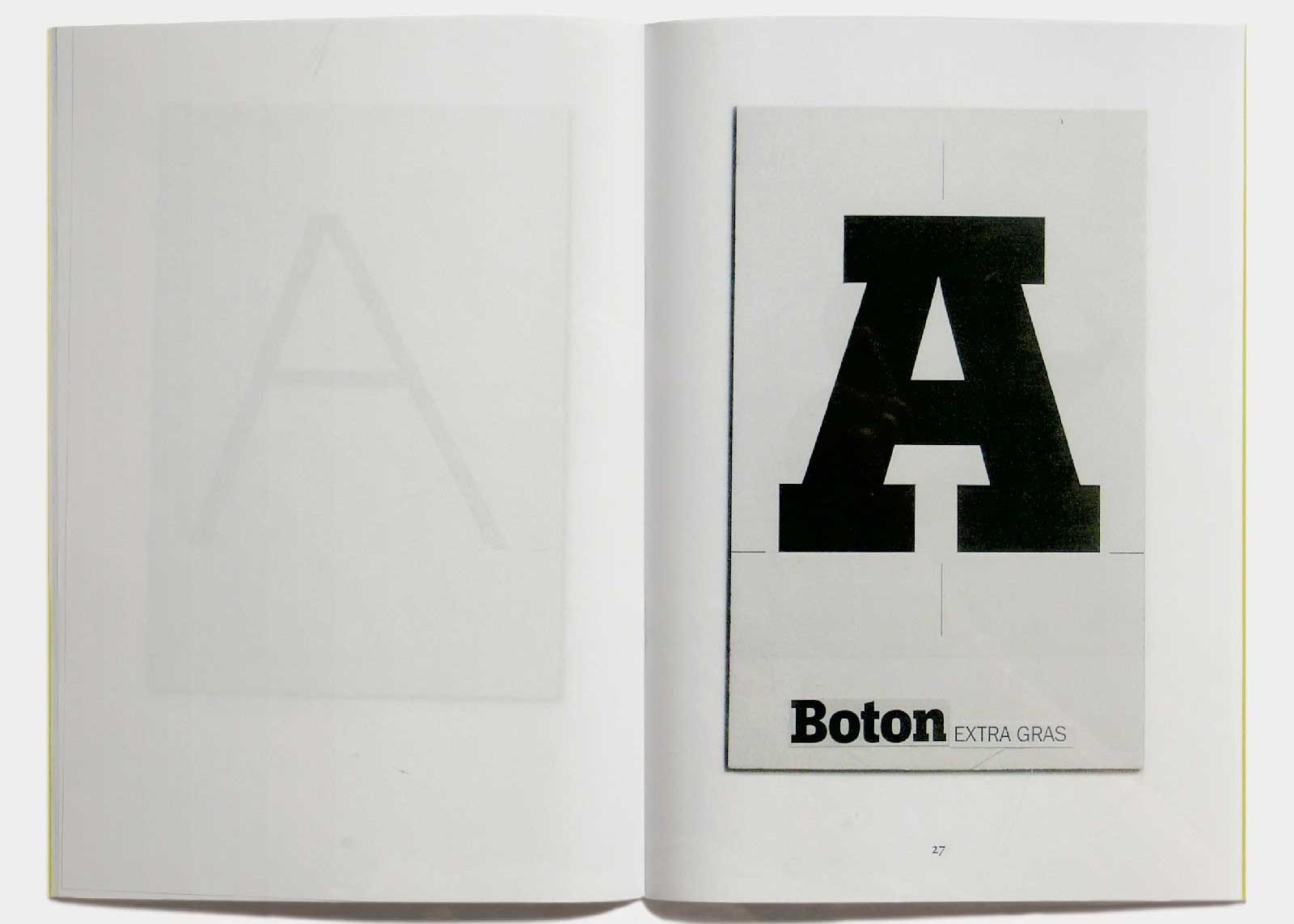 Page 27 — Caractère Boton (1976, Typogabor; 1986, Berthold), dessin original à l'encre sur carte à gratter.