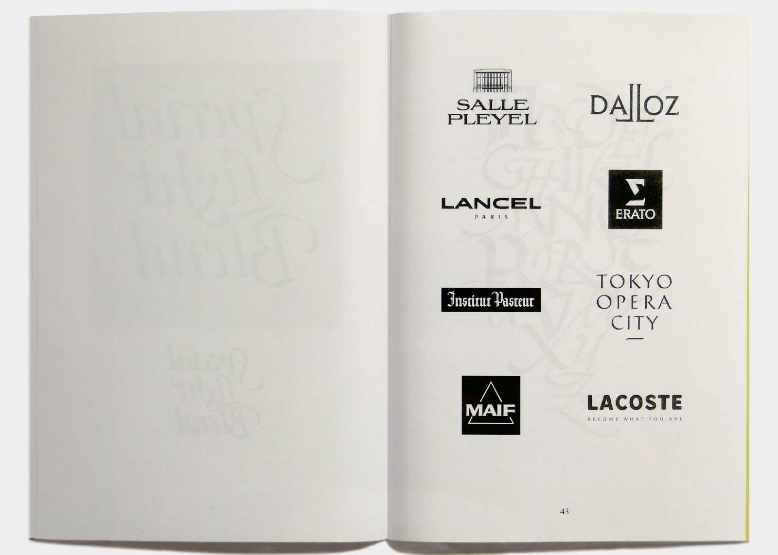 Page 43 — Sélection de 8 logotypes, Salle Pleyel (1998, Carré Noir), Dalloz (1993, Carré Noir), Lancel (1997, Gérard Barrau), Erato (Carré Noir), Institut Pasteur (Carré Noir), Tokyo Opera City (Carré Noir), Maif (1974, Carré Noir), Lacoste (1976, SNIP 4).