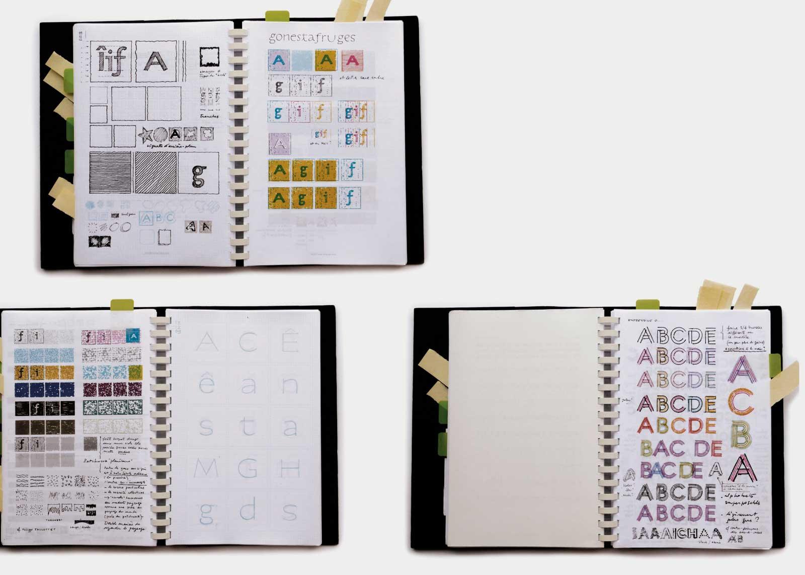 Carnets intimes — Recherches sur la texture dans la typographie.