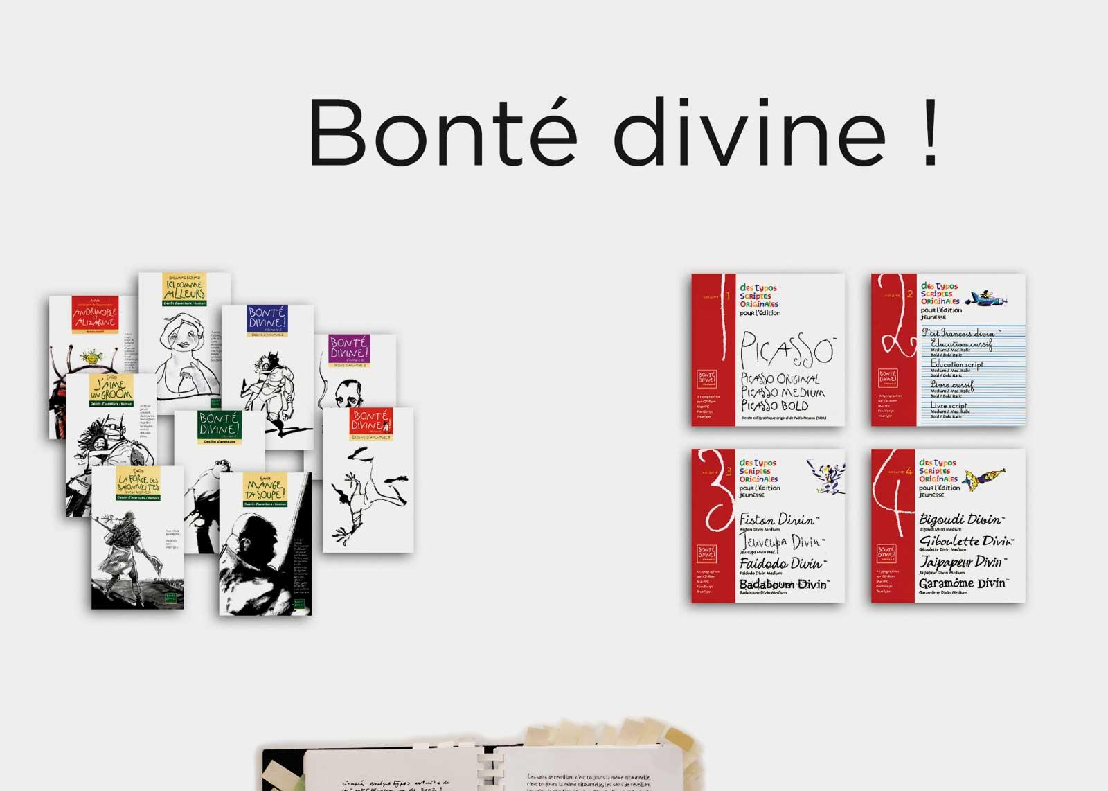 Carnets intimes — Présentation de livres et catalogues typographiques, réalisés au sein de la maison d'édition « Bonté divine ! » (1996).
