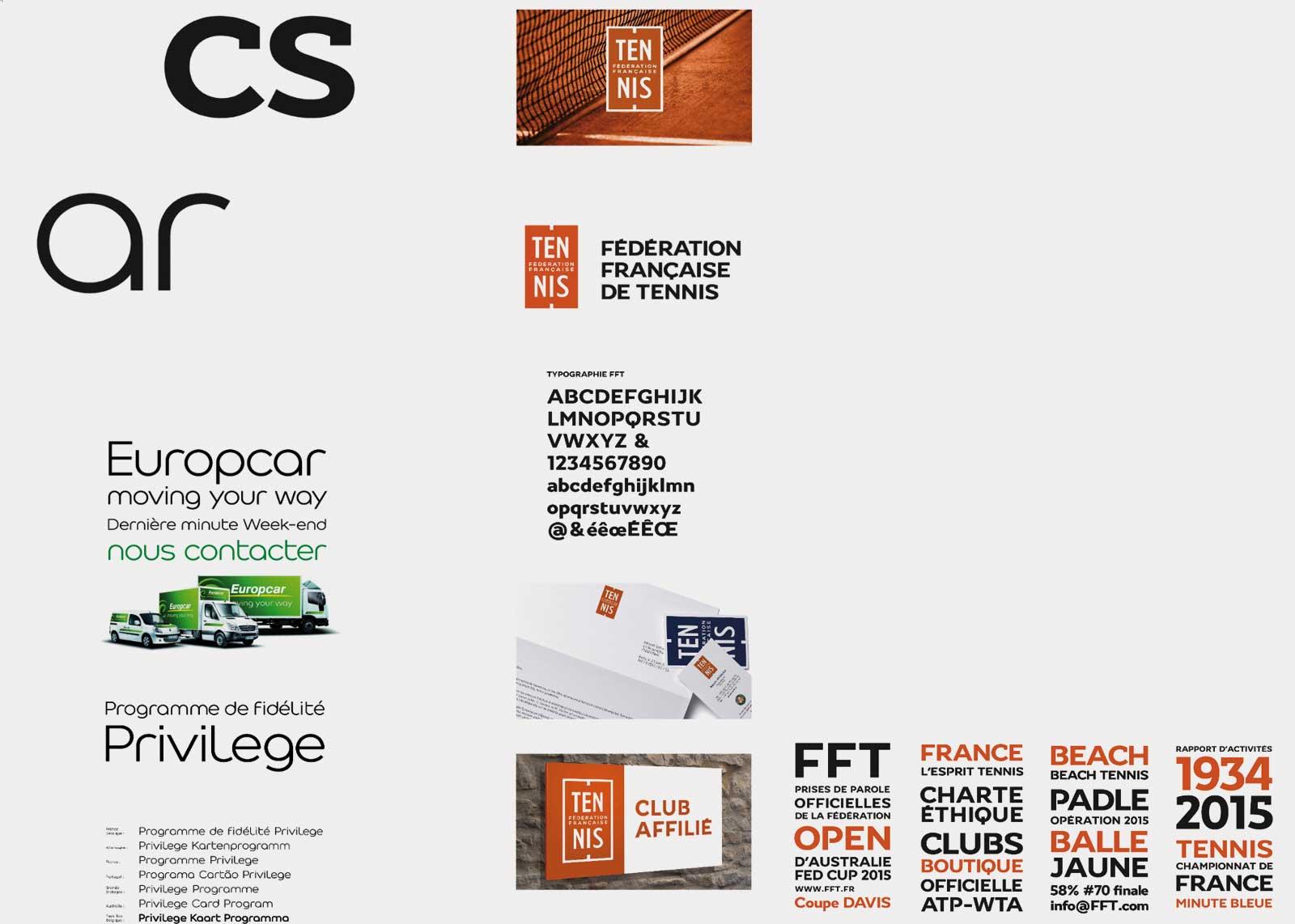 Exemples d'applications du caractère typographique Fédération Française de Tennis.