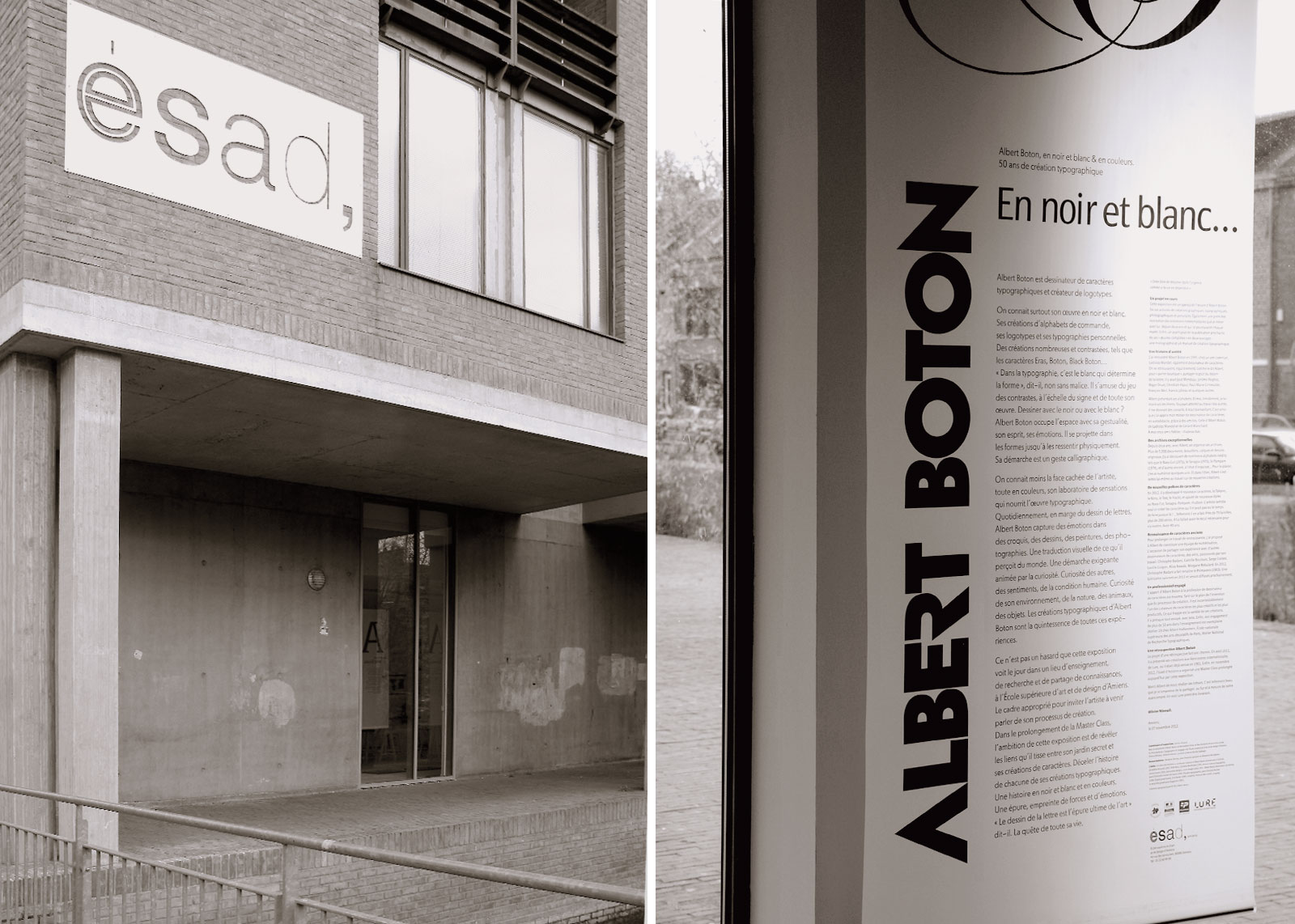 Locaux de l'ESAD d'Amiens, kakemoo de présentation de l'exposition, 26 novembre 2012 (photos Albert Boton).