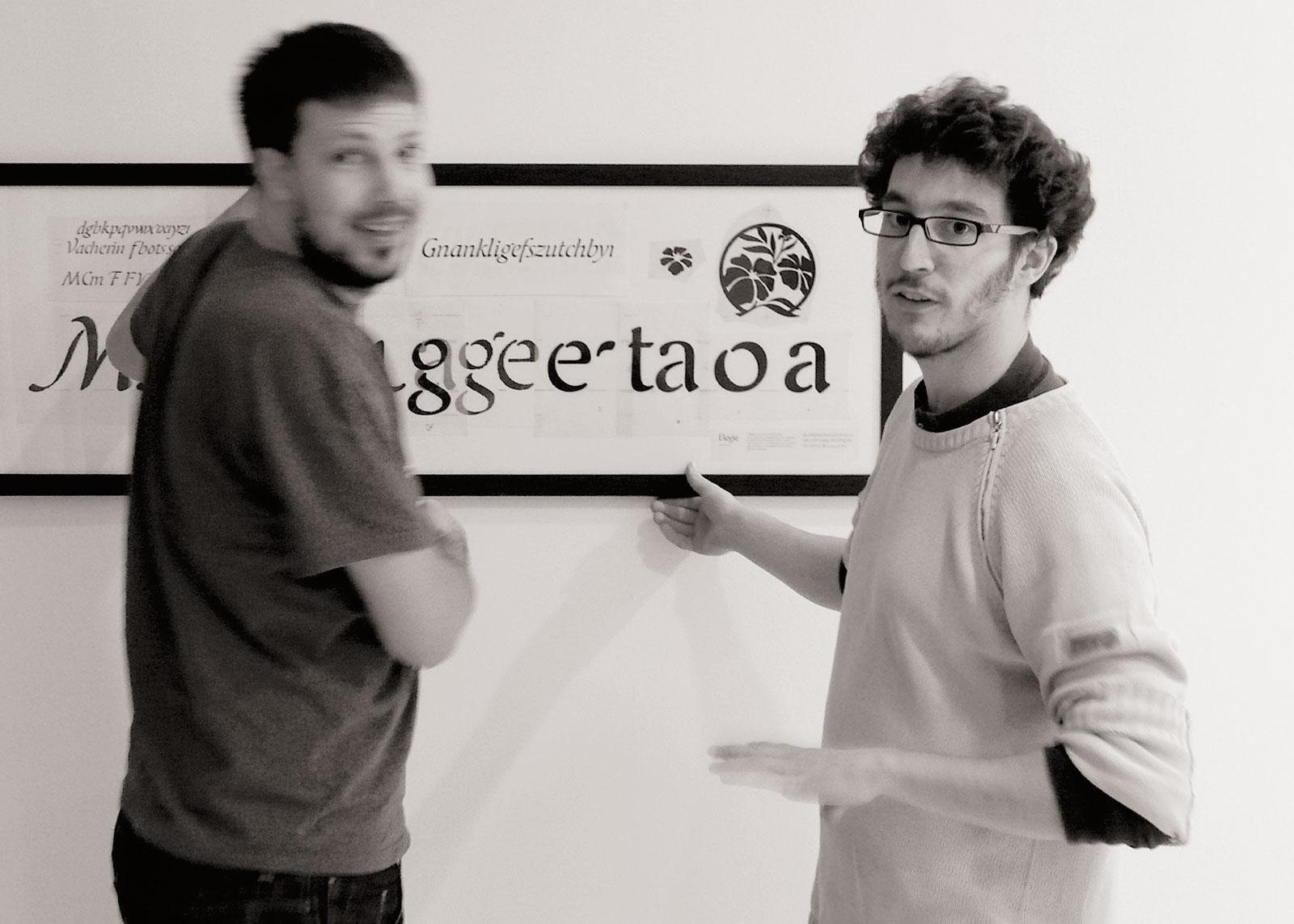 Accrochage, originaux du caractère Elégie. Mike Sabbagh et Thierry Fétiveau , 26 novembre 2012 (photo Olivier Nineuil).